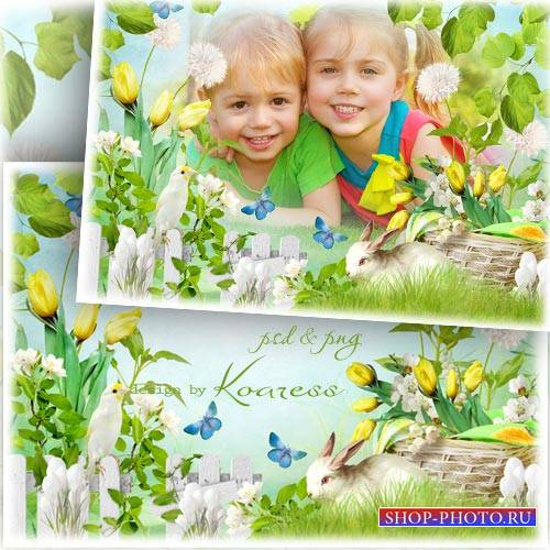 Весенняя рамка для фотошопа с цветами, птичкой и кроликом - Зеленая полянка