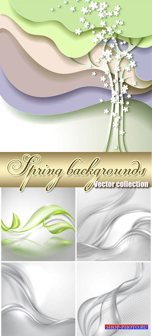 Vector spring background with tree and abstraction