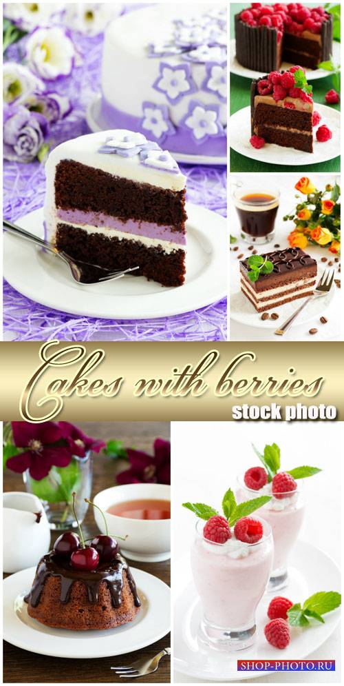 Delicious cakes with fruits and berries - stock photos