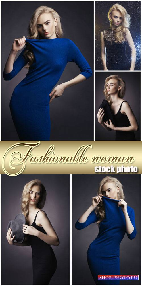 Fashionable woman in stylish dress - stock photos