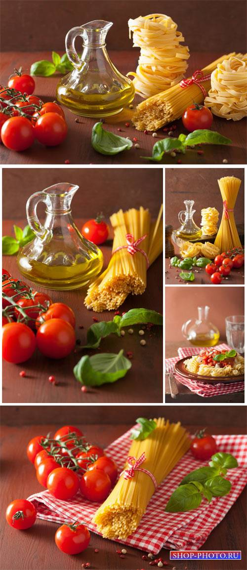 Pasta, butter and tomatoes - stock photos