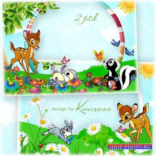Детские рамки для фото с персонажами мультфильма Бэмби - На цветочной лужай ...