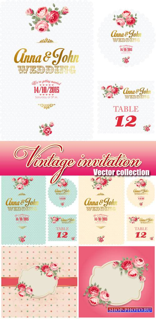 Vintage invitation, vector background with roses