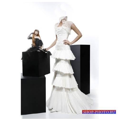 Шаблон для фотошопа - В белом вечернем платье