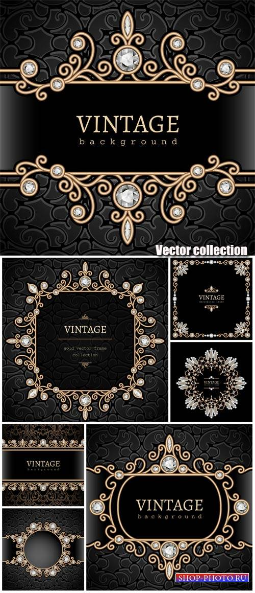Black vintage background with gold decorative elements