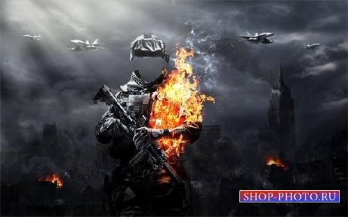 Шаблон мужской - Военный с оружием