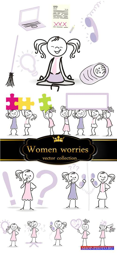 Women's worries, ideas, vector