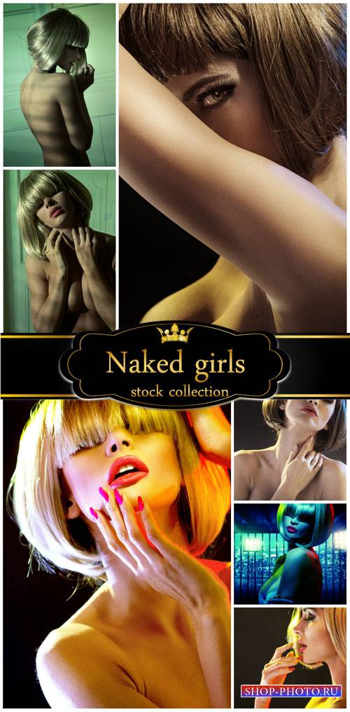 Nude woman with short hair - stock photos