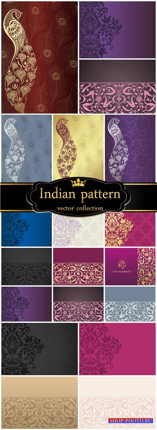 Indian patterns, vector backgrounds with peacocks and patterns