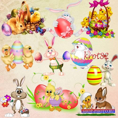 Подборка пасхального клипарта на прозрачном фоне – Кролики, зайцы и цыплята ...
