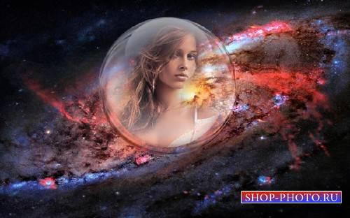 Рамка psd - Стеклянный шар в далеком космосе