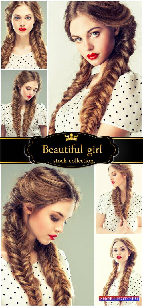 Girl with long pigtails - stock photos