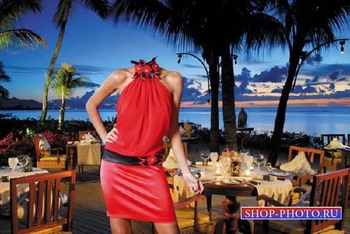 Шаблон для Photoshop - Морской вечер - в красном платье