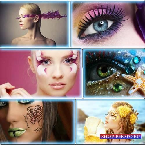 Клипарт растровый - Необычный макияж у девушек