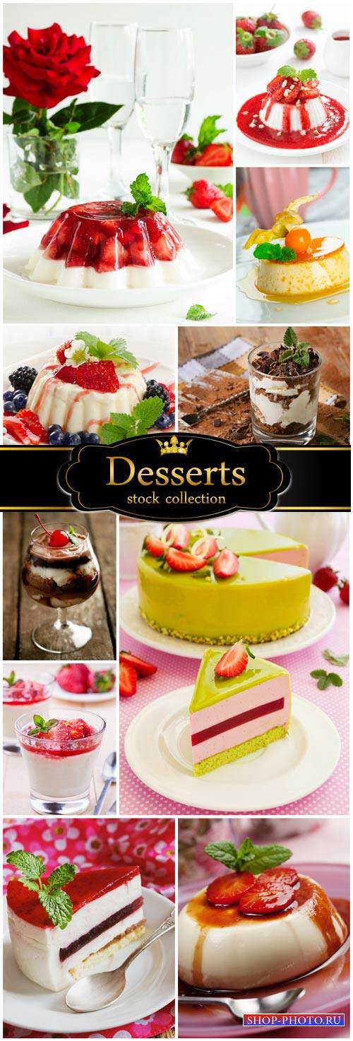 Delicious desserts, berries, chocolate - stock photos
