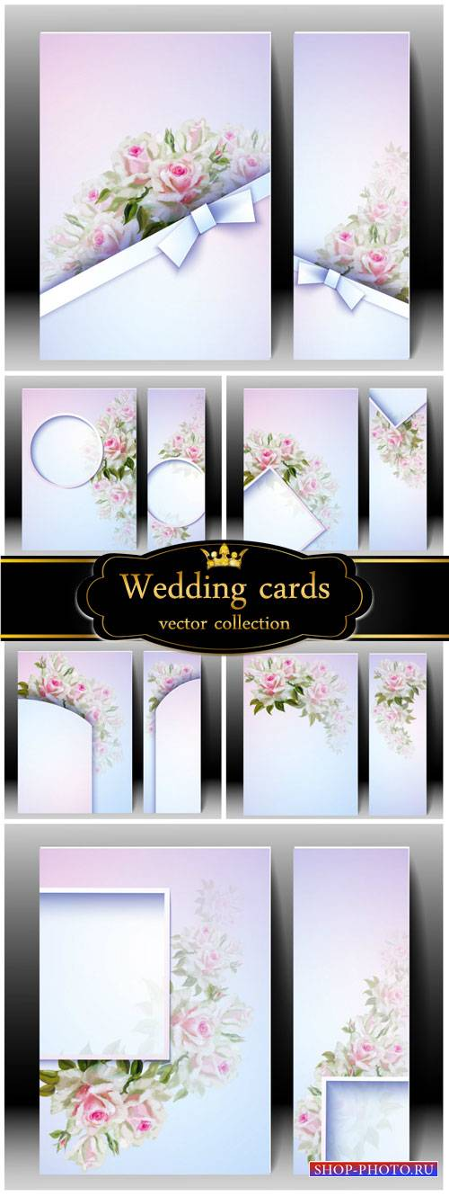 Wedding invitations, cards with roses
