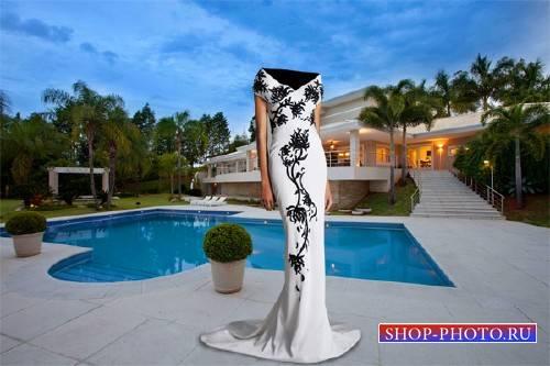 PSD шаблон для девушек - В белом вечернем платье на своей вилле