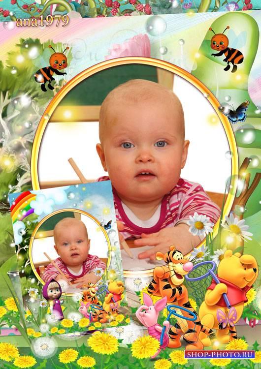 Рамка для фотошопа – Маша и Винни