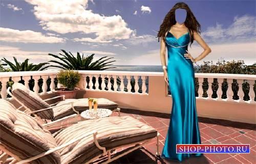 Шаблон для фото - В вечернем платье на курорте
