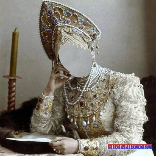 Шаблон psd женский - Княгиня русская в национальном костюме