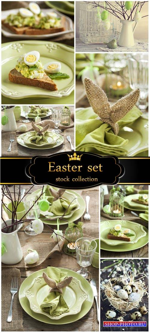 Easter festive table - stock photos
