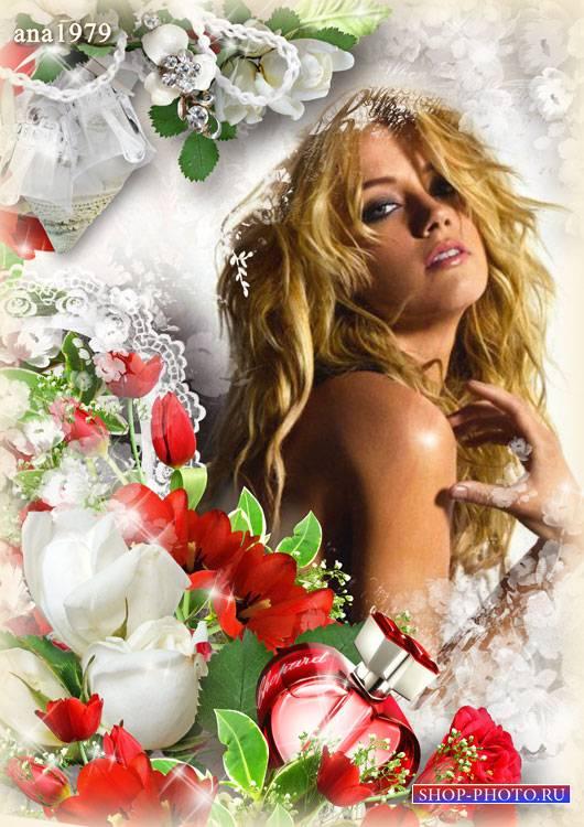 Рамка для фотошопа - Розы и тюльпаны