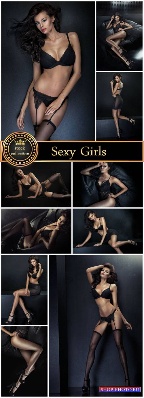 Sexy girl in black underwear - stock photos