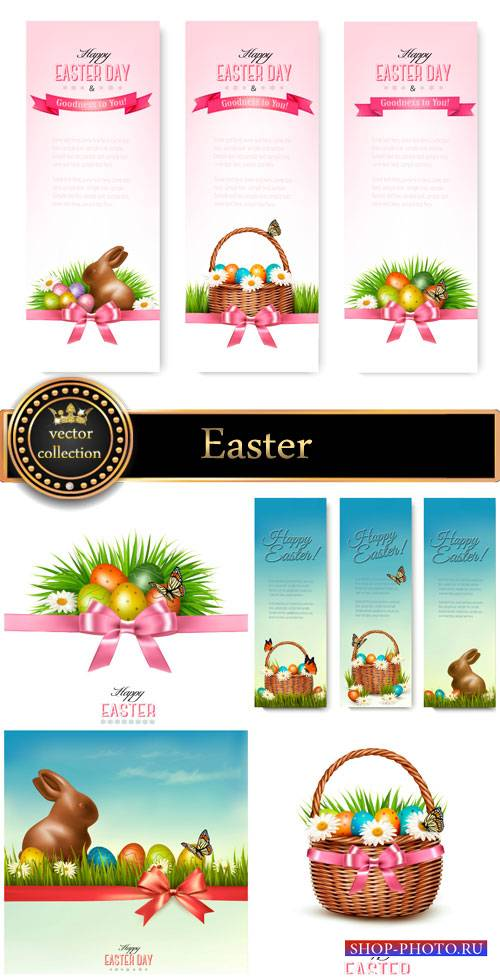 Easter basket with Easter eggs and flowers vector