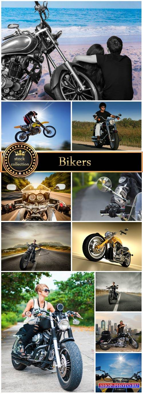 Bikers, people and vehicles - stock photos