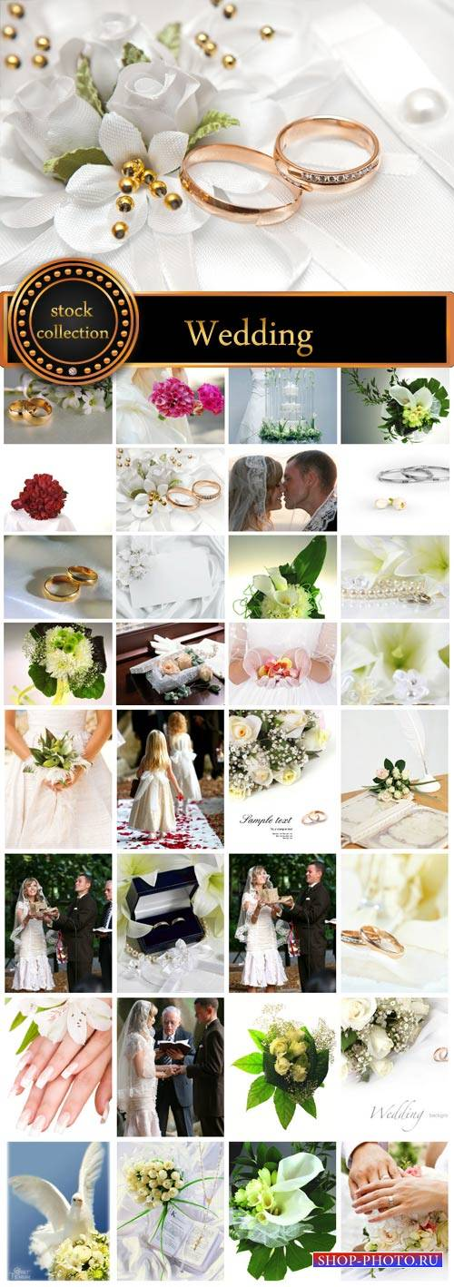 Wedding, bride and groom, wedding rings, flowers - Stock Photo
