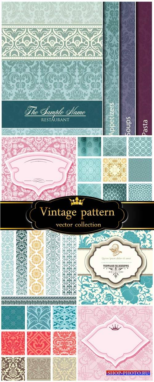 Vintage patterns, vector backgrounds, texture