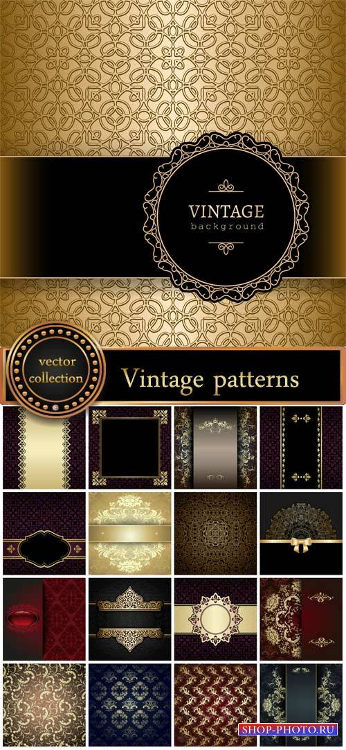 Vintage background with gold patterns, vector backgrounds