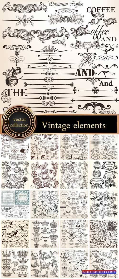 Vintage decorative elements, scrolls, ornaments vector