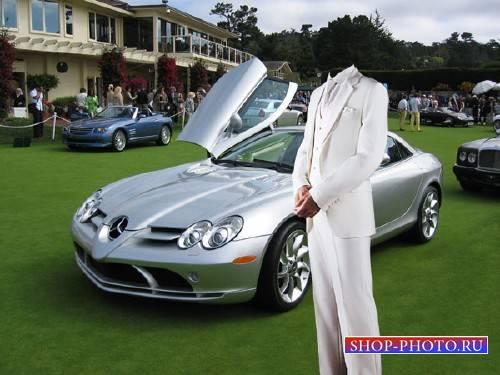 Photoshop шаблон - В костюме с дорогим авто