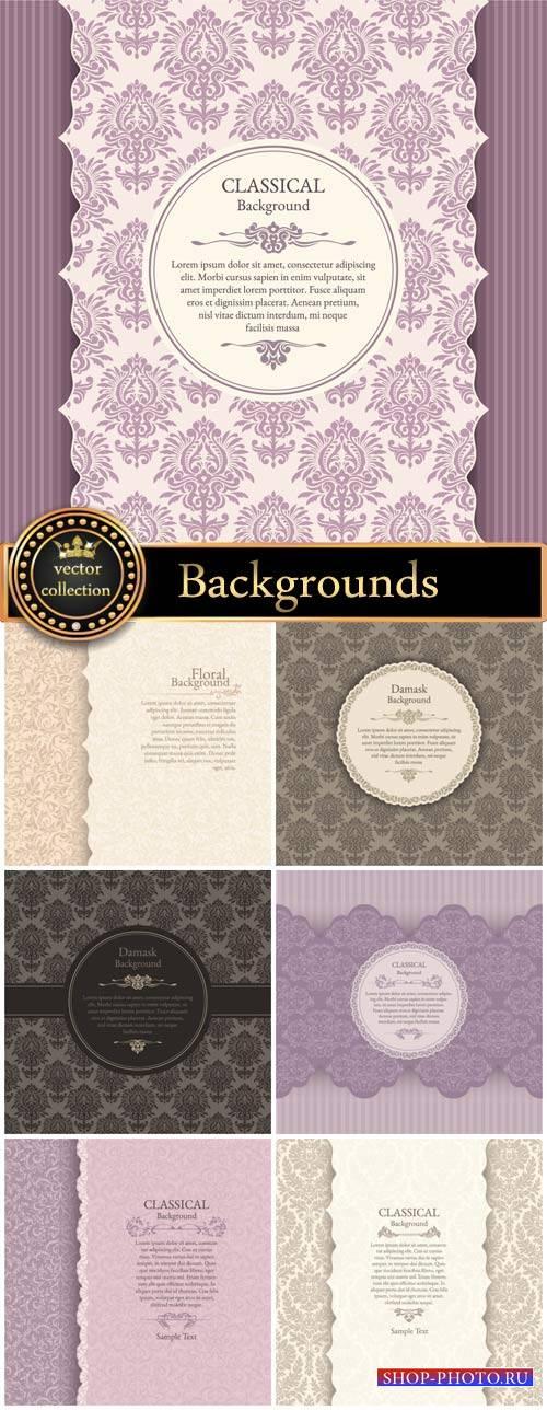 Vintage vector backgrounds, damask, classic, floral