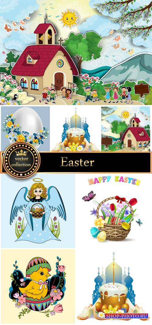 Easter basket with Easter eggs, angel vector