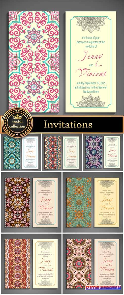 Vector Invitations with Arabic and Indian motifs