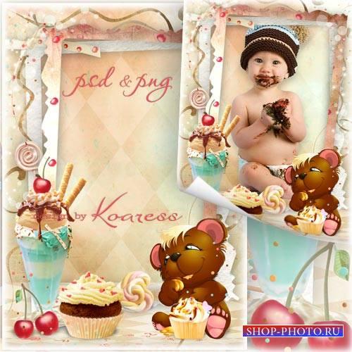 Рамка для фотошопа для малышей - Объедение