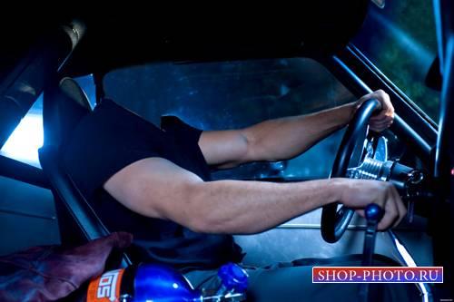 Шаблон для фотошопа  - За рулем автомобиля