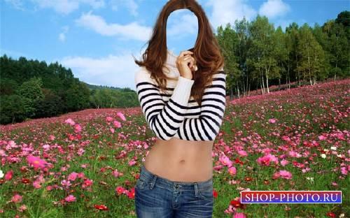 PSD шаблон для девушек - В поле из цветов