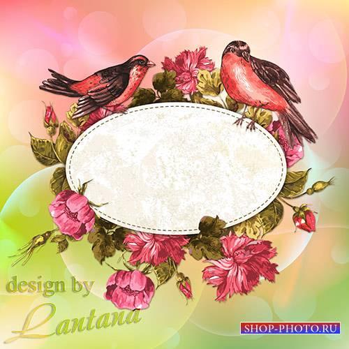 Psd исходник - Цветы и птицы