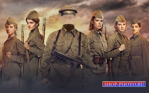 Шаблон для фотошопа - Солдат Второй мировой
