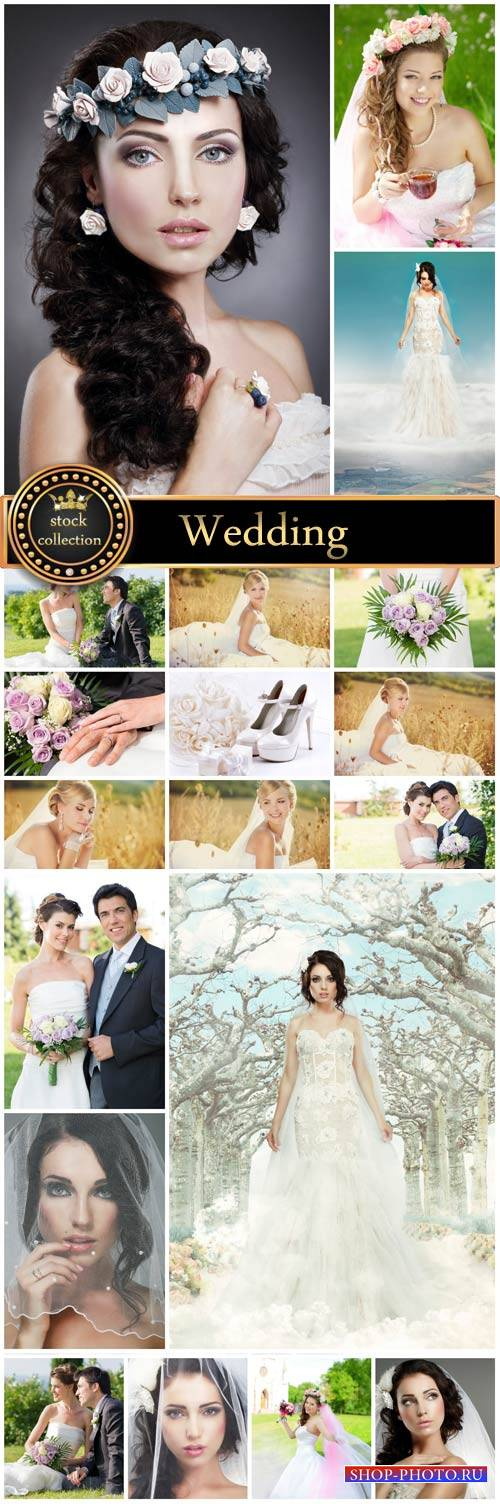 Wedding, beautiful bride, groom - stock photos