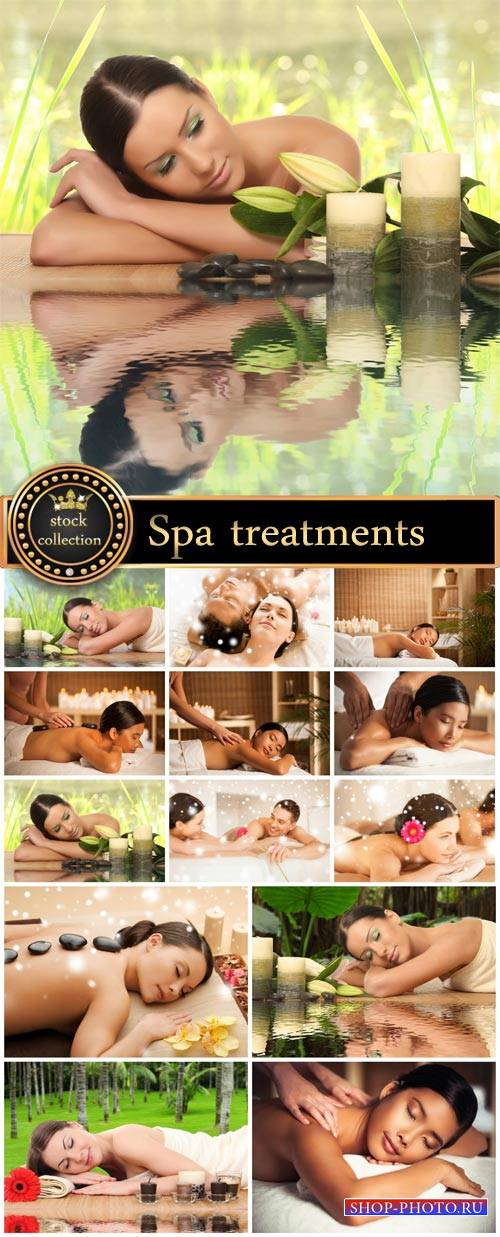 Spa treatments, man and woman - stock photos