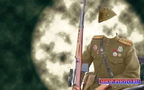 Шаблон для фотошопа - Костюм солдата Второй мировой