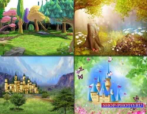 Клипарты для фотошопа - 4 детских фона