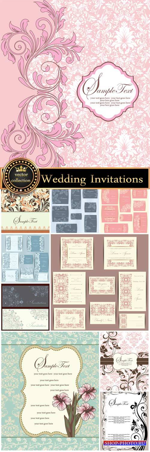 Wedding Invitations in vintage style, vector backgrounds