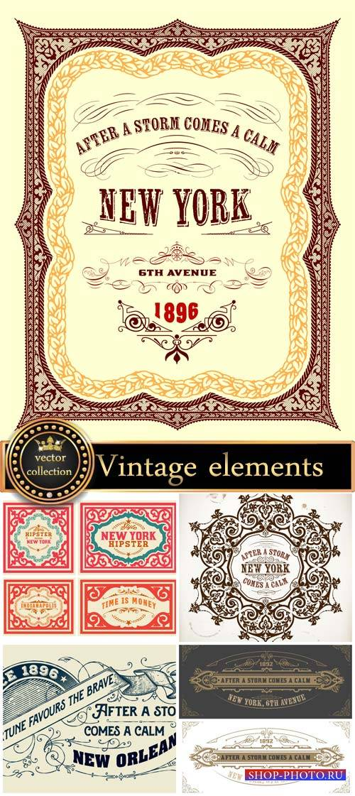Vintage elements vector background