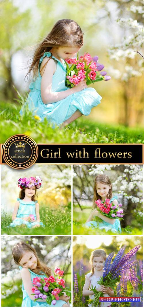 Girls with flowers, spring - stock photos