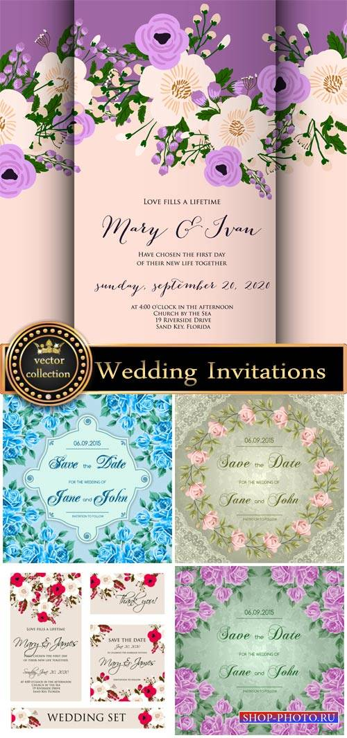 Vintage wedding invitations with flowers, backgrounds vector